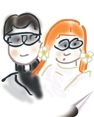 Caricature of Drs. John and Marilyn Rossner